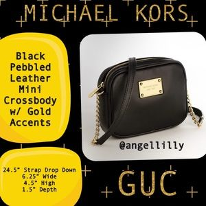 Michael Kors Black Pebbled Leather Mini Crossbody